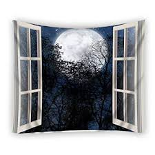 open window at night.  Open Custom Open Window Moon Night One Side Home Decor Tapestry Polyester  Fabric Tapestries Wall Art With At