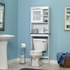 Light Blue Accents Wall Design Idea For Bathroom With Astounding