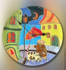 Купить <b>Часы</b>-панно «Вечерняя прогулка с господином Котом ...