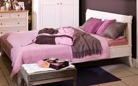 Purple And Black Bedroom White Wooden Low Profile Bed With Purple Bedding Sheet Placed On