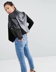 asos au asos leather waterfall jacket women black