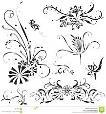 Stock Illustration Vector Flower Calligraphic Design Elements Black