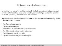 Call Center Cover Letter Example Call Center Team Lead Cover Letter