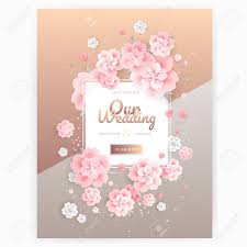 Weding Card Designs Wedding Invitation Card Background Template With Pink Floral