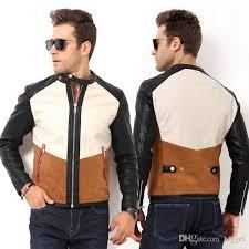 2018 suede leather jacket men 2017 brand name contrast color slim fit style biker motorcycle leather short coat topcoat from bigget 80 41 dhgate com