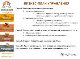 Презентация на тему УПРАВЛЕНИЕ НЕДВИЖИМОСТЬЮ СТРУКТУРА  32 БИЗНЕС ПЛАН УПРАВЛЕНИЯ Глава 8 Ресурсы Управляющей компании 8 1 Материальные