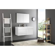 Fresca Mezzo 48 White Wall Hung Double Sink Modern Bathroom Vanity