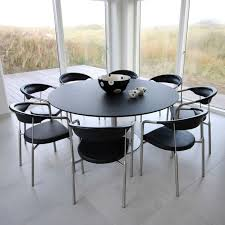 contemporary dining table stainless steel square round train by henrik tengler