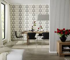 Classy Dining Room Interior Decorating With Wallpaper As Well Big Round  Pendant Lamp Above Wooden Dining