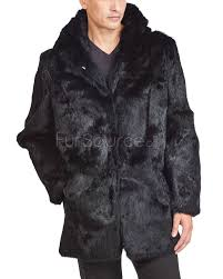 noir black hooded men s rabbit fur coat