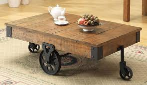 Amazing Rustic Coffee Tables With Wheels Industrial Rustic Coffee