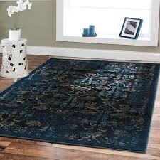 image of dark modern blue area rug