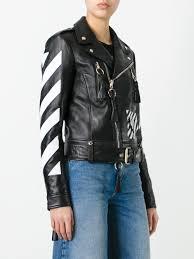 off white logo print biker jacket black off white women clothing jackets off white