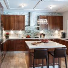 cherry wood cabinets. Fine Wood Contemporary Kitchen With Gray Mosaic Tile Backsplash And Cherry Wood  Cabinets Intended C