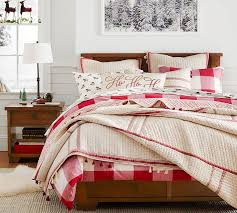 buffalo check duvet cover sham cherry ivory pottery barn