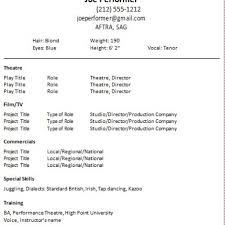 Audition Resume Templates Resume Template Getresumes Twitter