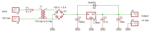 ecen 1400 intro to digital analog electronics spring 2014 lab 11 schematic of 5v power supply