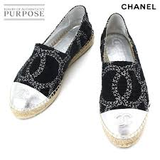 chanel chanel espadrille shoes tweed leather black silver 36 23 0 23 5 used accessory