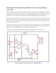 Ldr Circuit Diagram For Street Light Automatic Street Light Controller Circuit Using Relays And Ldr
