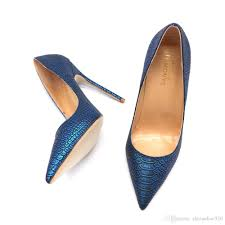 Blue Designer Heels 2019 New Designer Royal Blue Snake Python Pointed Toe Evening Sexy High Heel Shoes 12cm Plus Size 44 45 Small Size 33 34 Pump Mens Sandals Reef