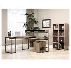 sauder l shaped desk 0021565 sauder transit collection multi tiered 12h x 34w salted oak