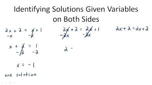 identifying solutions given variables on both sides overview