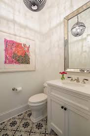 contemporary girl bathroom with beaded beveled mirror