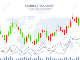 Candlestick Stock Charts Free Stock Market Concept Candle Stick Chart World Map Global Financial