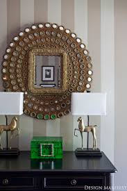 Striped walls peacock mirror horse lamps malachite box Design Manifest: DM  Project: A Striped Foyer {Before and After}