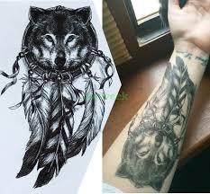 водонепроницаемый временные татуировки наклейки большой размер ловец снов волки
