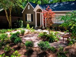 garden design ideas for front of house. diy front yard landscaping ideas for small modern ranch house design with various garden plants and trees combined brick walkway outdoor wooden of