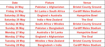 World Cup Tournament Chart Official Warm Up Fixtures For Icc Mens Cricket World Cup