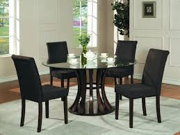 round black glass dining table and chairs home decor interior with regard to round black