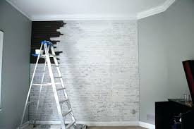 faux white brick wall painting by bower power blog she used paneling to make an accent