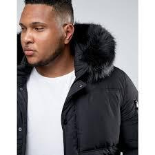 sixth june sixth june plus puffer jacket in black with faux fur hood black men jackets