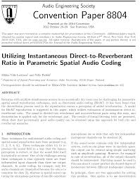 aes e library utilizing instantaneous direct to reverberant  aes e library utilizing instantaneous direct to reverberant ratio in parametric spatial audio coding