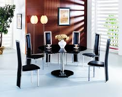 planet large round black glass dining table with amalia chairs