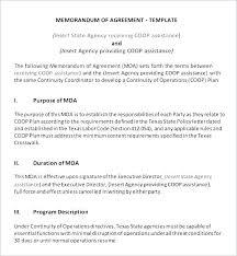Letter Of Understanding Template Word Simple Memorandum Of Agreement Template