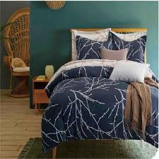 Modern Design Duvet Covers Us 67 99 Simple Blue White Branch Design Modern City Mens Duvet Cover Sets Twin Size Polyester Branch Pattern King Size Bedding Sheet In Bedding