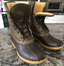 249 men s signature ll bean boots 10 tumbled leather 9 shearling lined olive