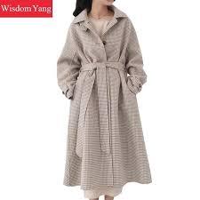 elegant beige plaid women wool coats trench womens winter warm 2018 female long woolen green red overcoat casual coat outerwear order nyt2