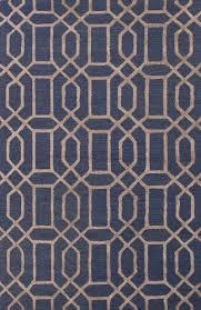 hand tufted geometric pattern indigo beige wool blend area rug metro chic