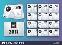 12 month desk calendar template for print design with mesh polygon background 2017 calendar design start with sunday 7x5 inches size with bleeds vec