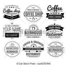 店 コーヒー レストラン 型 Label Logo Template