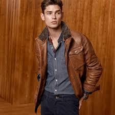 massimo dutti nappa leather field jacket with merino collar