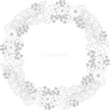 かすみ草と花 おしゃれ 正円 丸 フレーム枠イラスト無料フリー85564