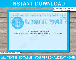 Notes Template Printable Disco Party Thank You Notes Template Blue