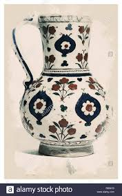 Chinoiserie Design On Pottery And Porcelain Iznik Style Chinoiserie Pottery Watercolor Series No 6 By