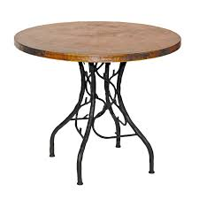 rustic outdoor bistro table rustic wrought iron south fork bistro table with in round copper top