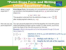 algebra 1 point slope form and writing linear equations 5 4